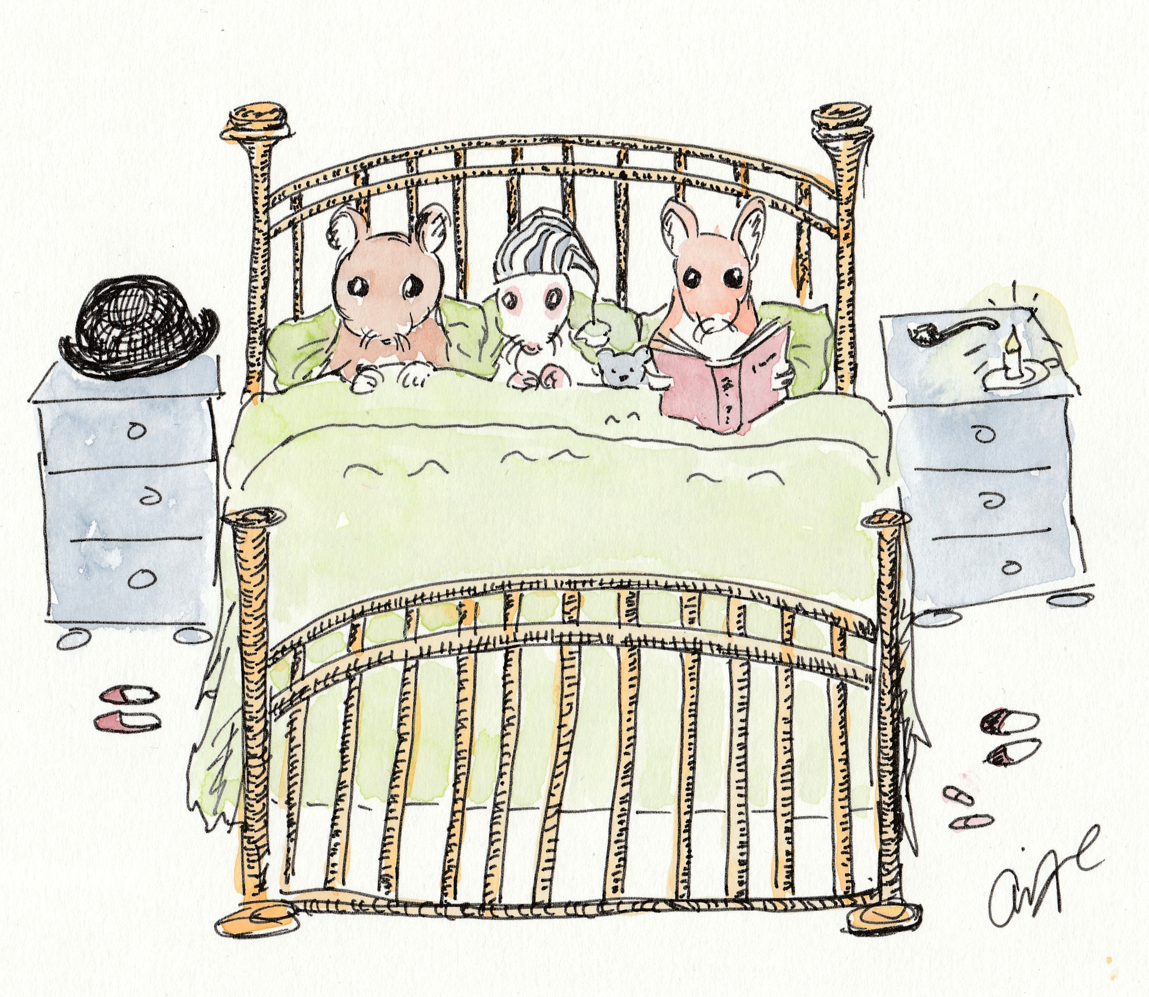 Three mice in bed by Aoife McCann